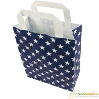 Papiertragetasche Sterne blau Flachhenkel mit weißen Sternen 6er Pack