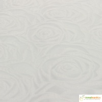 Tischläufer weiß Rosenmotiv 30cm x 2,5m Tischband Dekoband Hochzeit