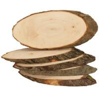 Baumscheiben Rindenscheiben, 5 Stück ca. 23 - 26 cm lang, Naturholzscheiben