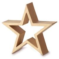 Stern Rahmen aus Pappe stehend, ca. 21 x 21 x 7 cm