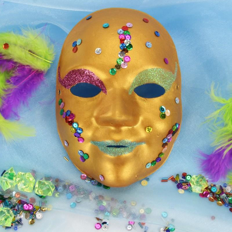 Masken basteln Fasching - Faschingsmaske Gold