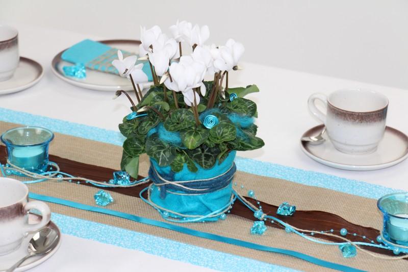 Tischdeko t rkis braun mustertisch trendmarkt24 for Tischdeko festlich