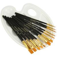 Nylonpinselset 12 Stück mit Malpalette Aquarellpinsel Acrylpinsel Ölpinsel Synthetikhaarpinsel