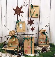 Advents-Kalender Weihnachten zum befüllen 24 Papier-Tüten-Kalender braun